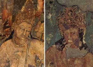 அஜந்தா குகை எண் 1 ; இடது புறம் பத்மபாணி (அவலோகிதேஸ்வரா) ; வலது புறம் : வஜ்ரபாணி